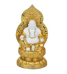 White And Gold Polystone Resin Leaf Gold Plated Laughing Buddha Feng Shui Vaastu Decor Gift Idol Statue