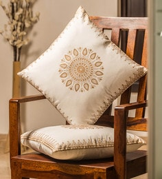 White And Golden 100% Cotton 16 X 16 Inch Cushion Covers - Set Of 2