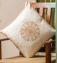 White And Golden 100% Cotton 16 X 16 Inch Cushion Covers - Set Of 4 - 1635982