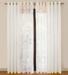 white cotton 55x84 inch door curtains set of 4