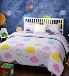 White Cotton Queen Size Clouds Kids Bedsheet   Set Of 3 ...