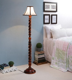 White Fabric Floor Lamp - 1693738