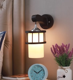 White Glass And Wood Wall Mounted Light