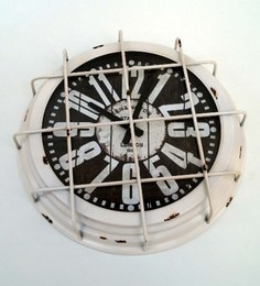 White Metal & Glass 16 X 3.5 X 16 Inch Vintage Wall Clock