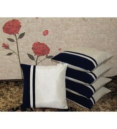 White Poly Dupion 16x16 Inch Cushion Covers - Set Of 5