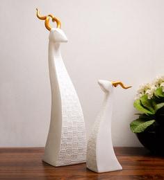 White Resin Deer Set (Set Of Two) Figurine