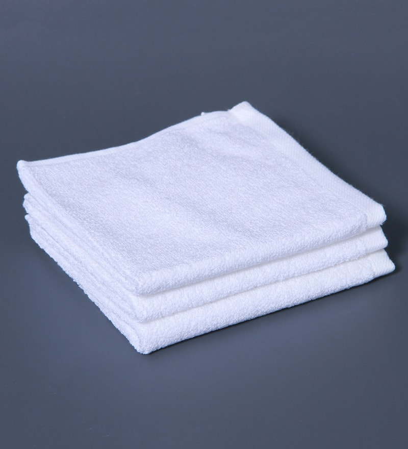Buy White 100% Cotton Face Towel - Set of 3 by Raymond