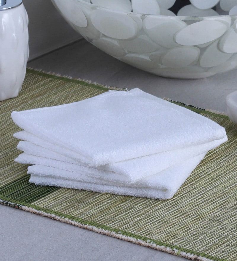 White 100% Cotton Face Towel - Set of 3 by Raymond Home