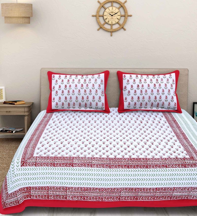 White and Red Cotton King Size Sanganeri Bedsheet - Set of 3 by Rajasthan Decor