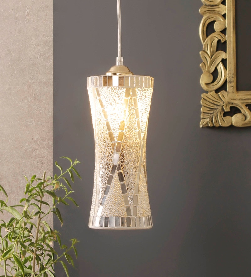 White and Silver Aluminium and Glass Pendant by Jainsons Emporio