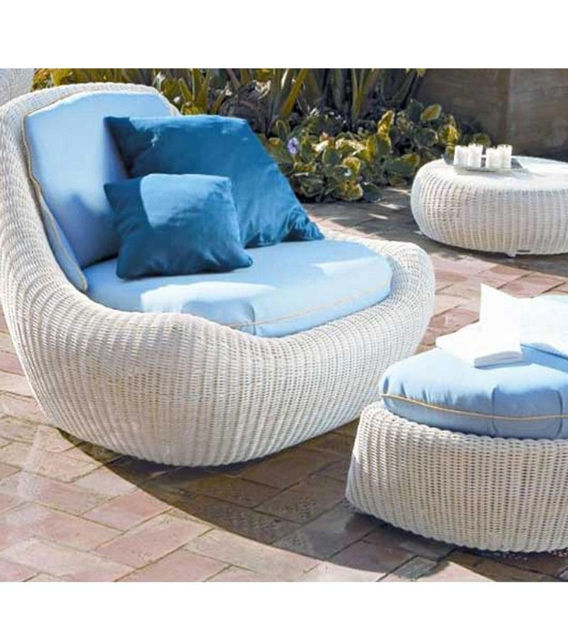 White Colored Casual Seater and Foot Rest by GEBE
