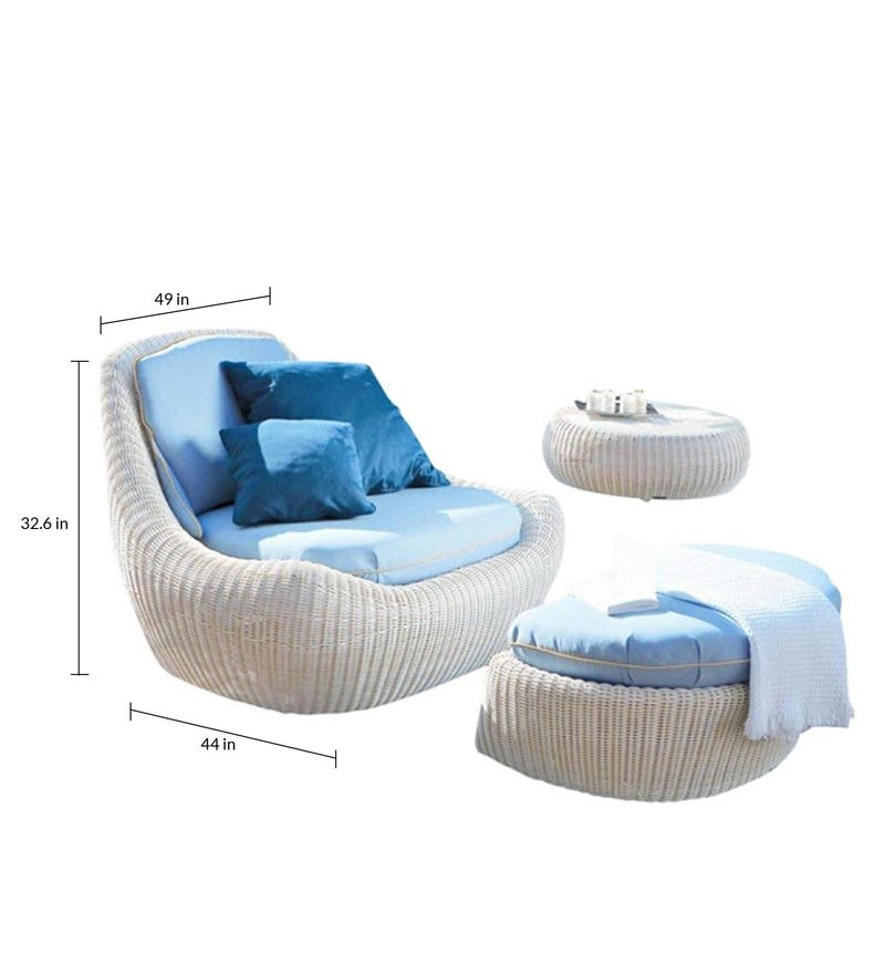 Buy White Colored Casual Seater And Foot Rest By Gebe