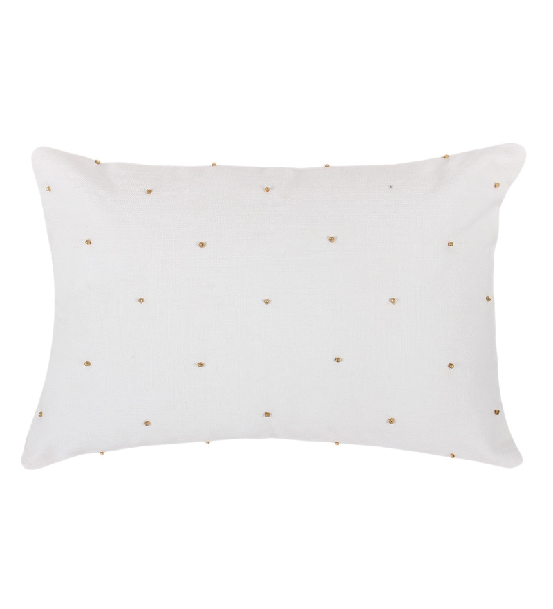 White Cotton 12x20 Inch Cushion Cover by Vista Home Fashion