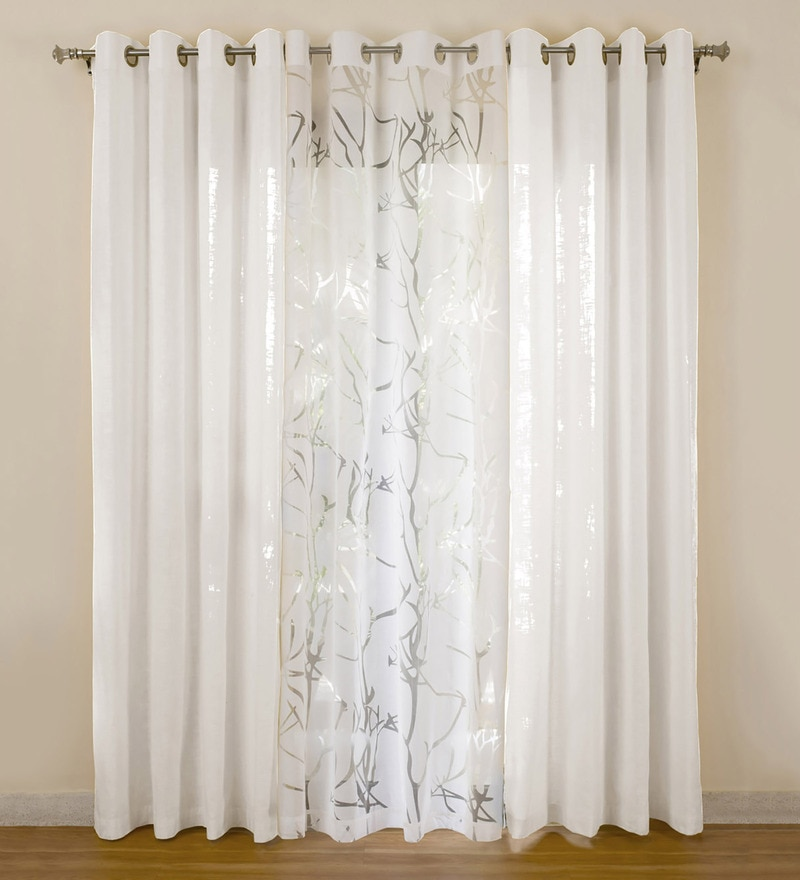 White Cotton 55x84 Inch Door Curtains - Set of 3 by Rosara