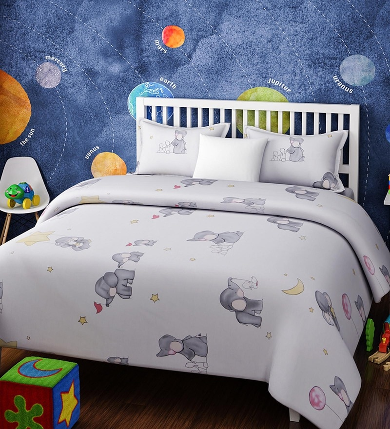 White Cotton Queen Size Baby Elephant Kids Bedsheet - Set of 3 by Rago