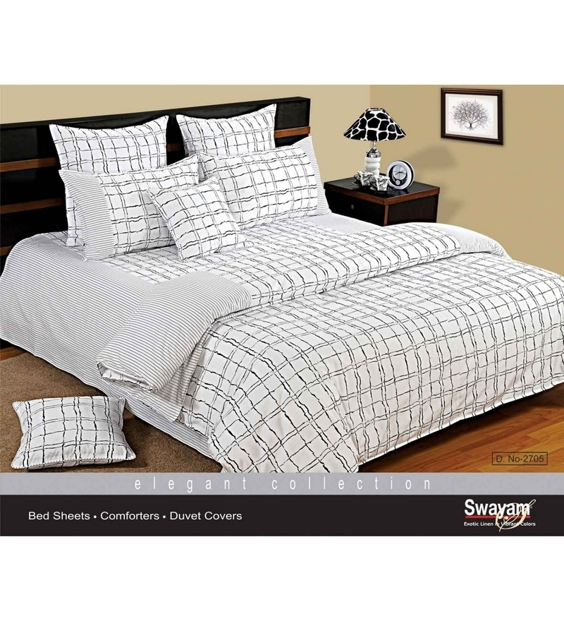 White Cotton King Size Bedsheet - Set of 3 by Swayam