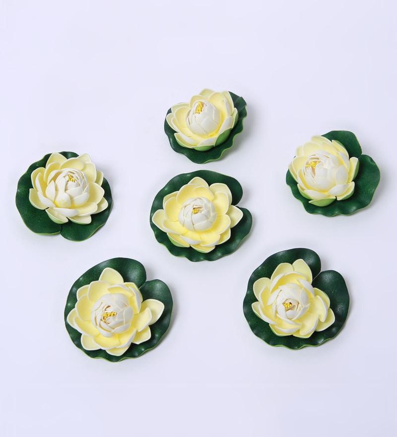 Buy white foam artificial lotus flower by fourwalls set of 2 white foam artificial small water lily by fourwalls set of 6 mightylinksfo