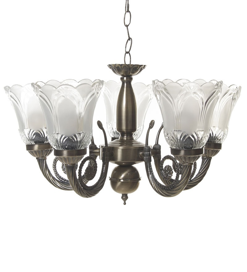 Buy White Glass Chandelier By Aesthetic Home Solutions