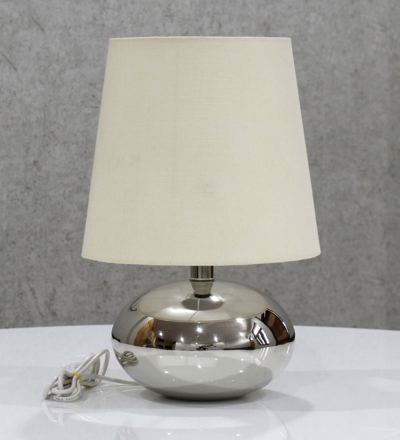 White Handloom Fabric with Acrylic Sheet Table Lamp by Craftter