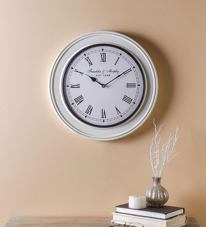 Nextime White Gl 24 X Inch Off Balance Wall Clock