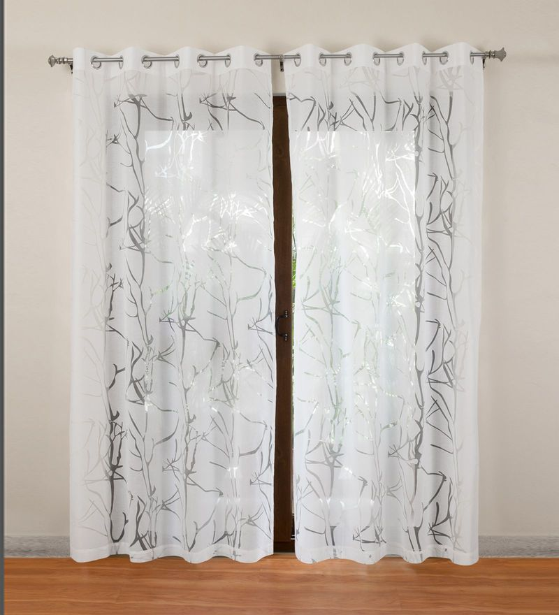 White Polycotton Wallace Sheer Door Curtain by Rosara