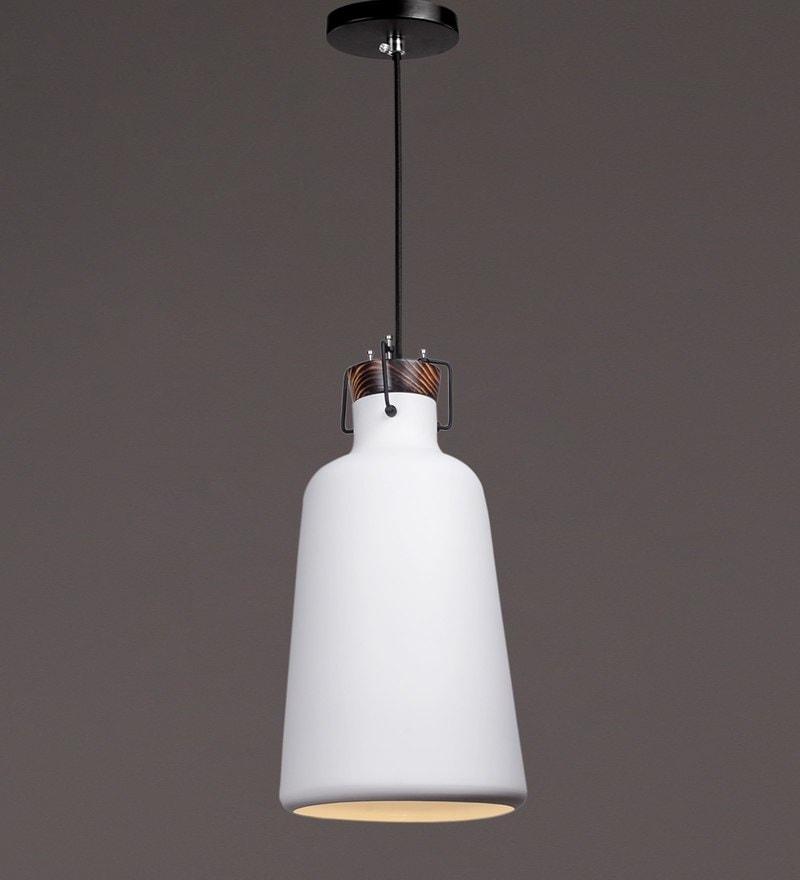White Wood and Aluminium  Pendant by Voylite