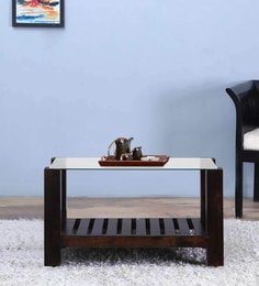 Winona Glass Top Coffee Table In Warm Chestnut Finish