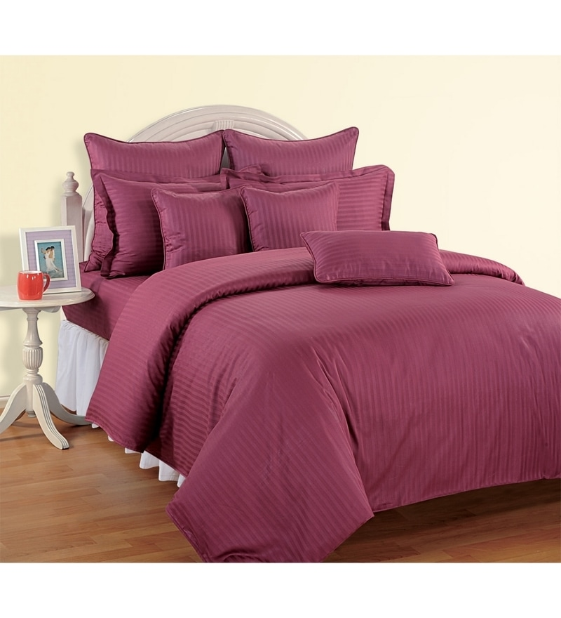 Wine Cotton Single Size Bedsheet - Set of 2 by Swayam