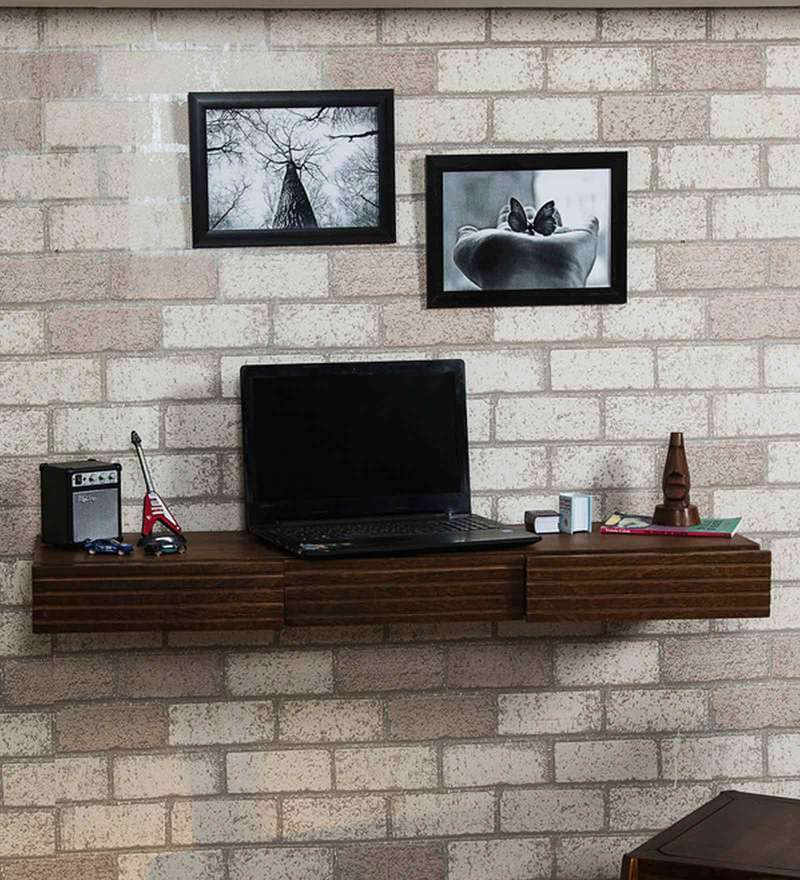 Winlock Wall Shelf cum Study Table in Provincial Teak Finish by Woodsworth