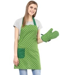 Wobbly Walk Paisley Print Cotton Apron With Oven Glove - Set Of 2 - 1648890