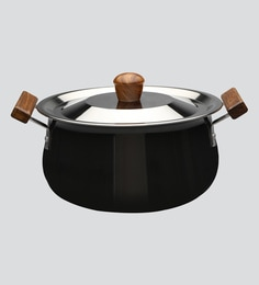 Wonderchef Ebony Hard Anodized Handi With Lid 21cm  In Black And Brown Color
