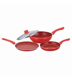 Wonderchef Royal Velvet Plus Red Aluminium Cookware Set