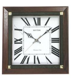 Wooden 14.2 X 3.3 X 14.2 Inch Auto Night Shut Off Wall Clock