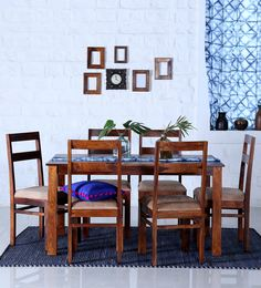 Woodinville Six Seater Dining Set In Honey Oak Finish