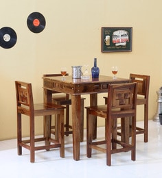 c2b7c2144 Woodway Solid Wood Four Seater Dining cum Bar Set in Provincial Teak Finish