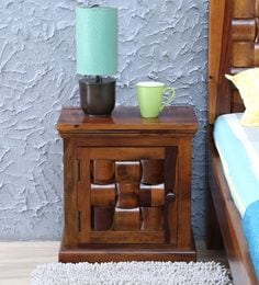 Woodway Solid Wood Left Door Bed Side Table In Provincial Teak Finish By Woodsworth