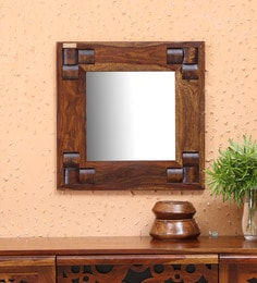 Woodway Square Wall Mirror In Solid Wood Frame In Provincial Teak Finish