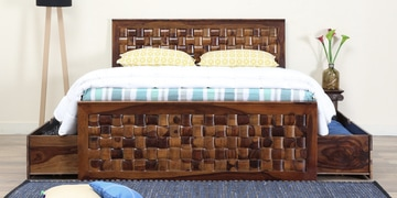 Woodway Queen Bed With Drawer Storage In Provincial Teak Finish