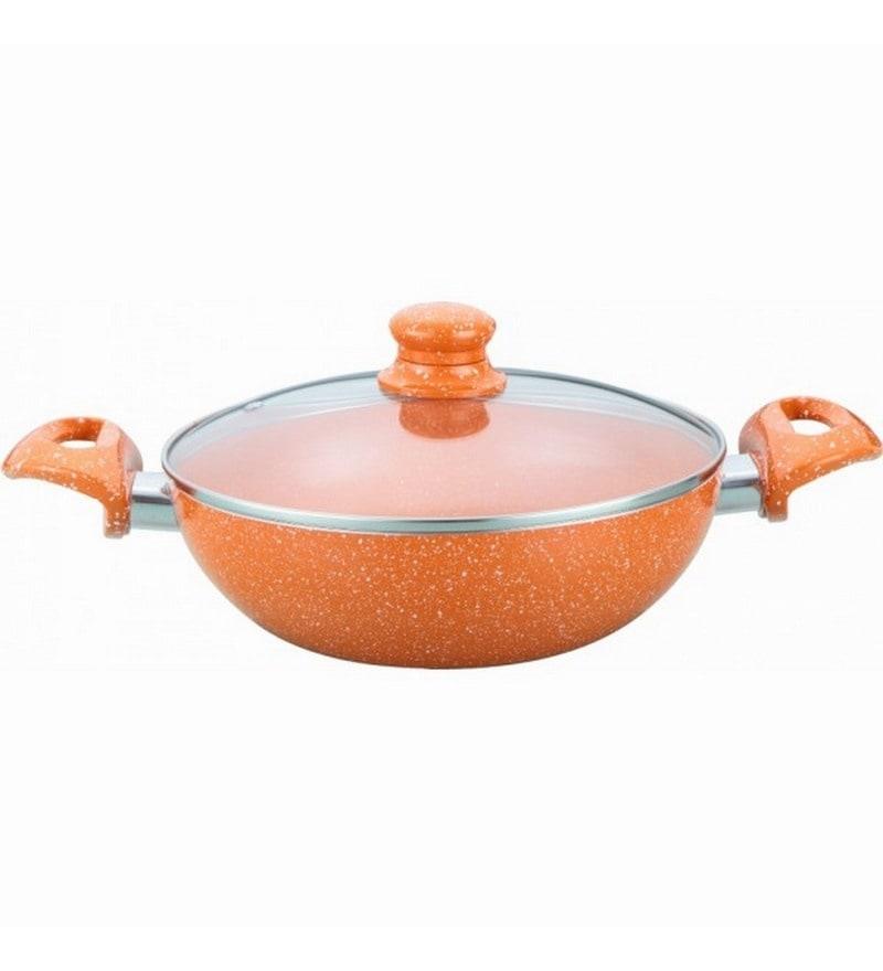 Wonderchef Tangerine 24 cm Wok with Lid