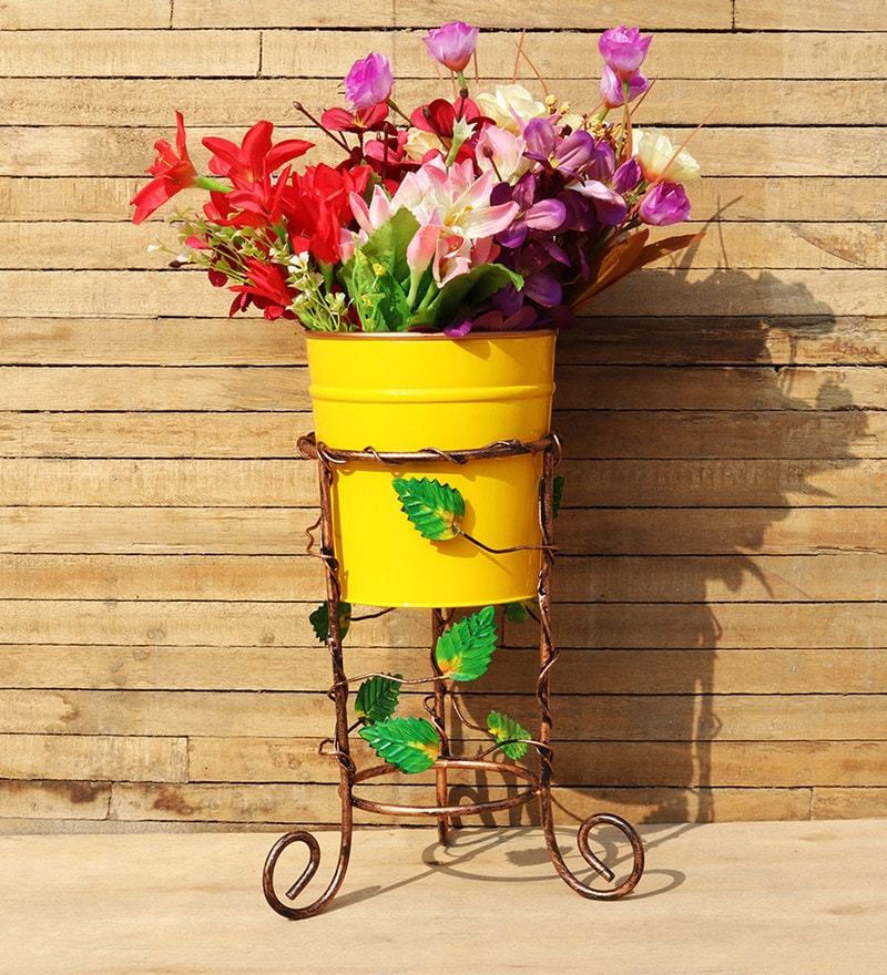 Metal Stand with Yellow Pot by Wonderland