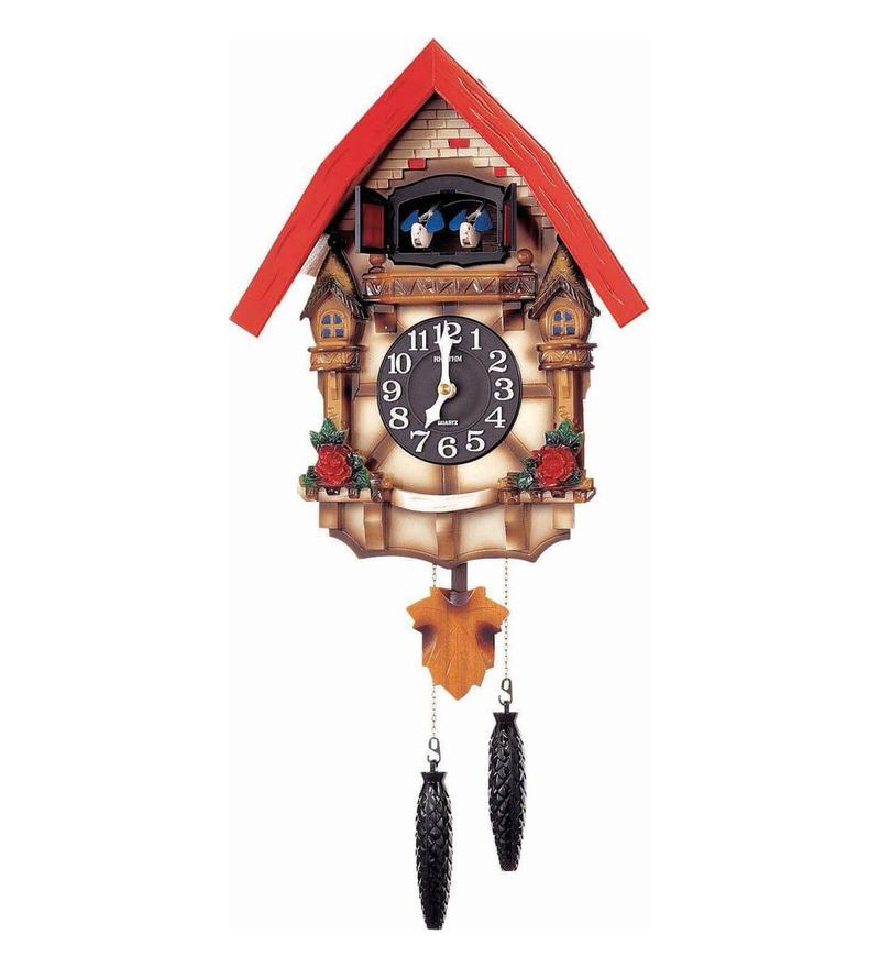 Wooden 12.6 x 6.3 x 21.4 Inch Auto Night Shut Off Sensor Hourly Mechanical Bird Chirping with Door Cuckoo Clock by Rhythm