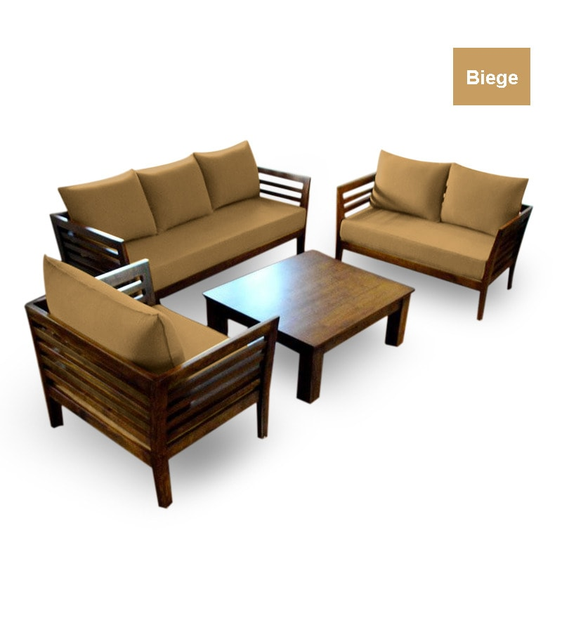 Wooden sofa set 3 2 1 seater coffee table by furny for Sofa coffee table