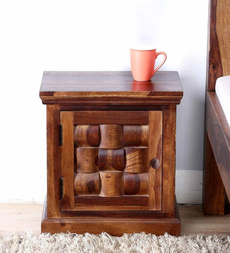 Woodway Right Door Bed Side Table in Provincial Teak Finish by Woodsworth