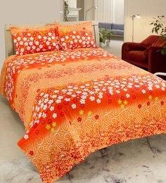 Wraps N Drapz Orange 100% Cotton Luxury Indigenous Print Double Bedsheet Set