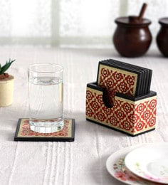 Yatha Brown & Gold Meenakari Coasters With Stand - Set Of 7