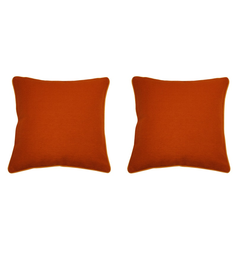 Yamini Ochre & Rust Cotton 16 x 16 Inch Solid Cushion Cover - Set of 2
