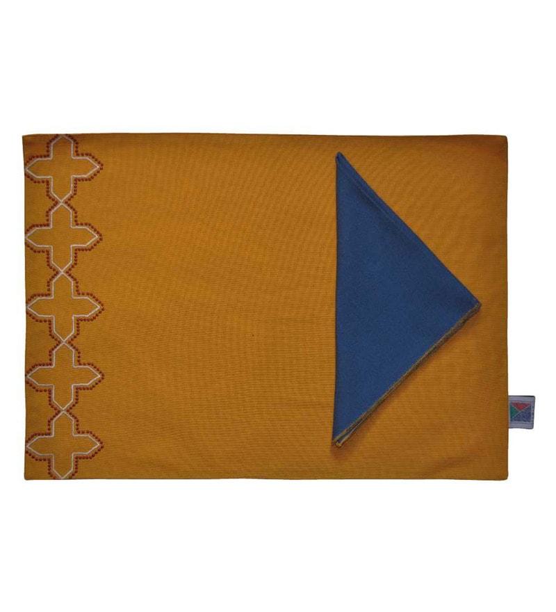Yamini Petal Embroidered Mustard 100% Cotton Placemats - Set of 6