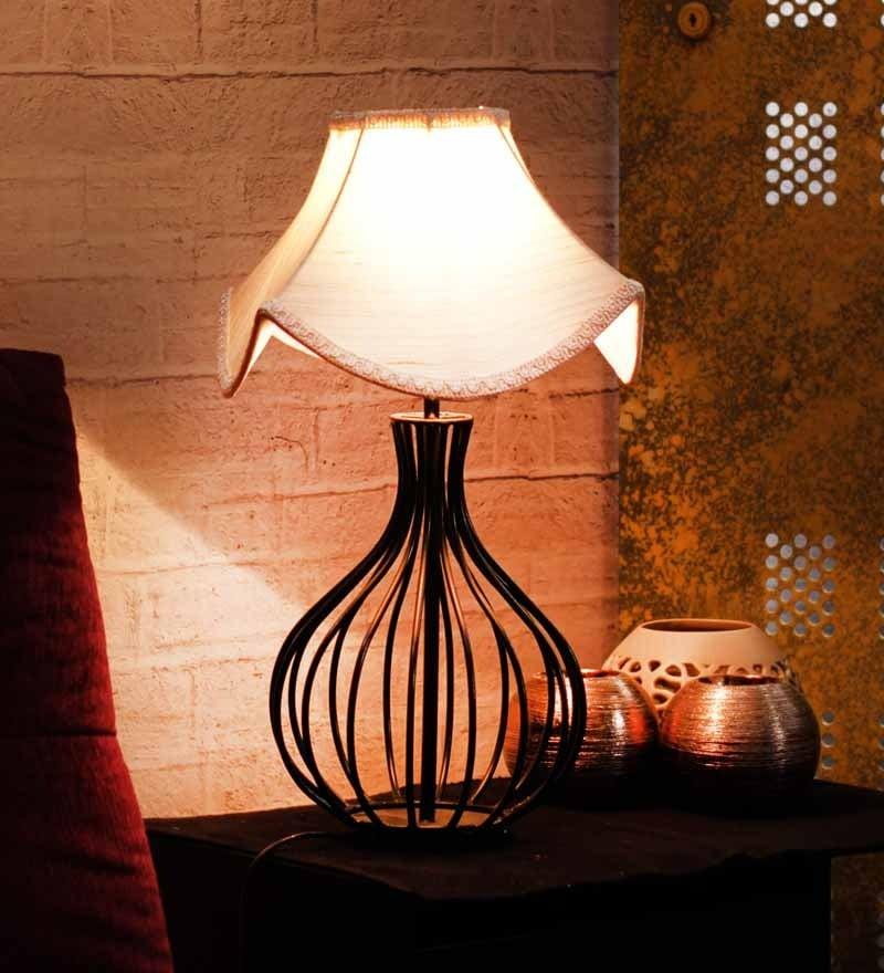 Cream Fabric Table Lamp By Yashasvi