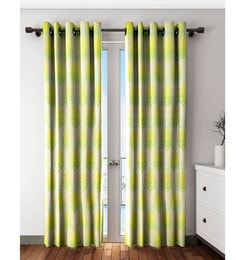 Yellow And Green Polyester Long Door Curtain