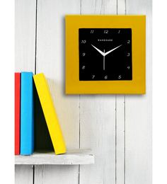 Yellow MDF 12 X 12 Inch Square Wall Clock